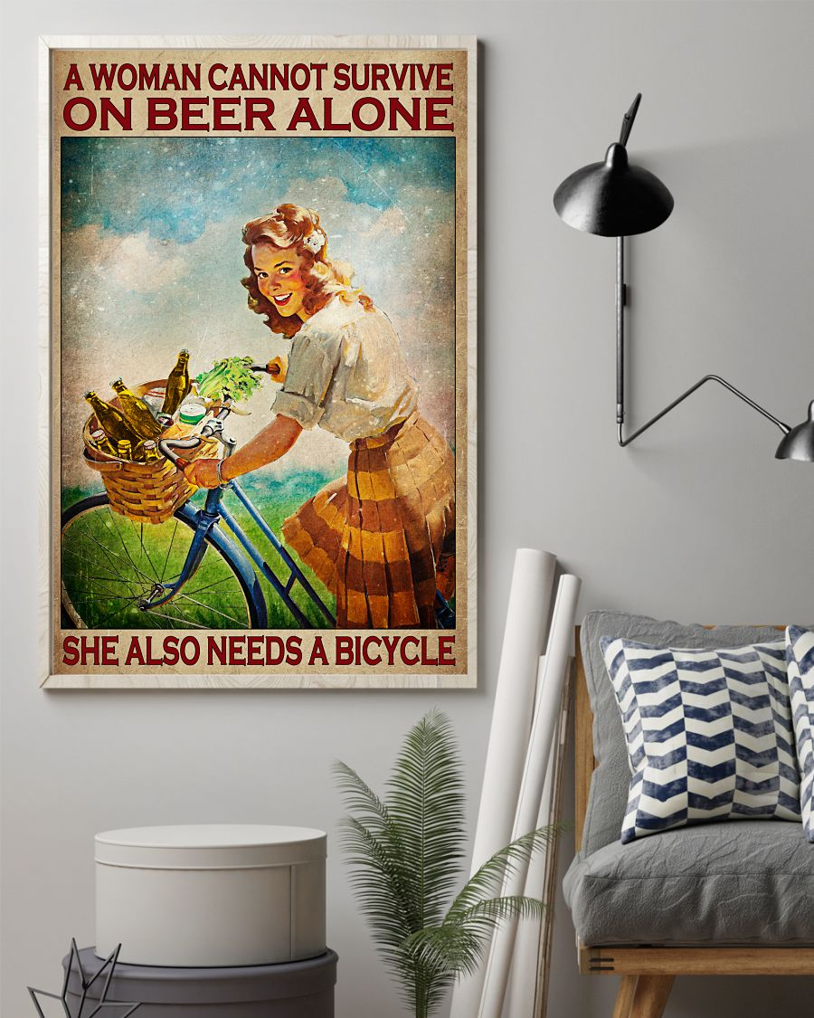 A Woman Cannot Survive On Beer Alone She Also Needs Bicycle Posterz