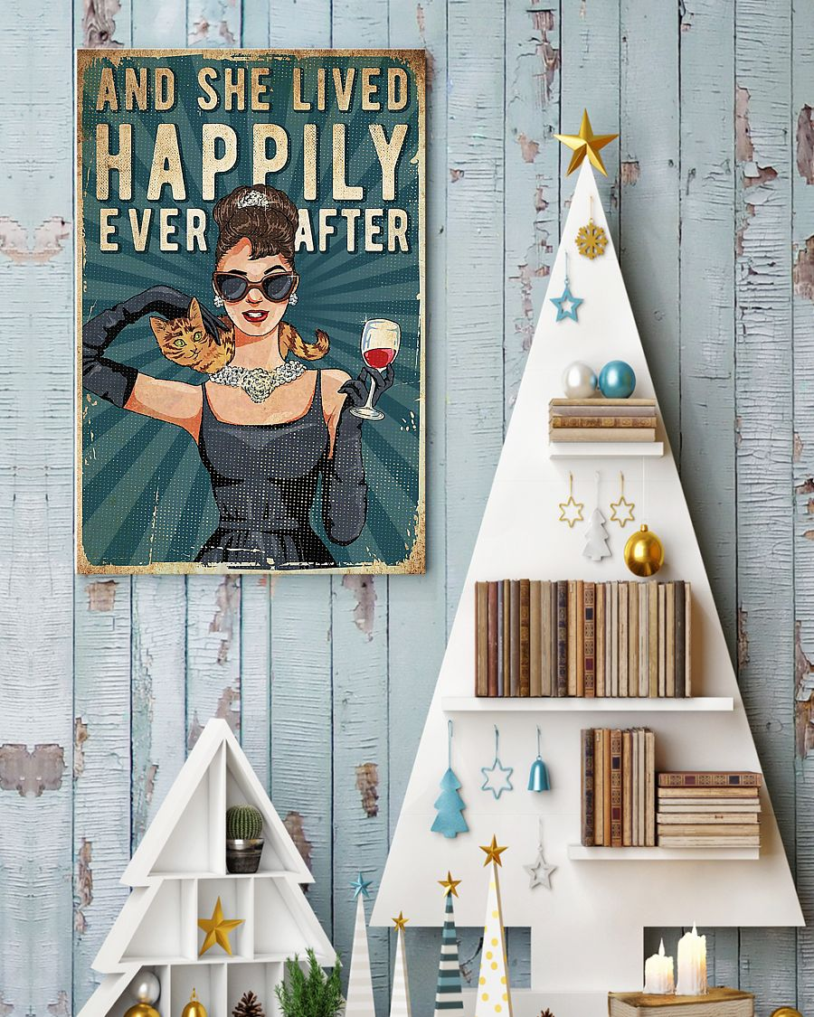 And She Lived Happily Ever After With Cats Poster