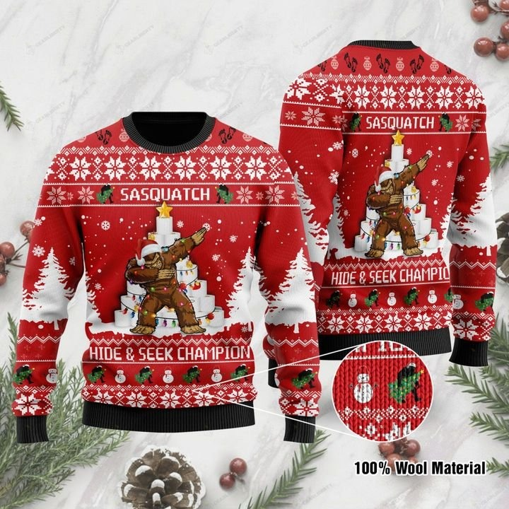 Bigfoot And Toilet Paper Sasquatch Hide & Seek Champion Ugly Christmas Sweater