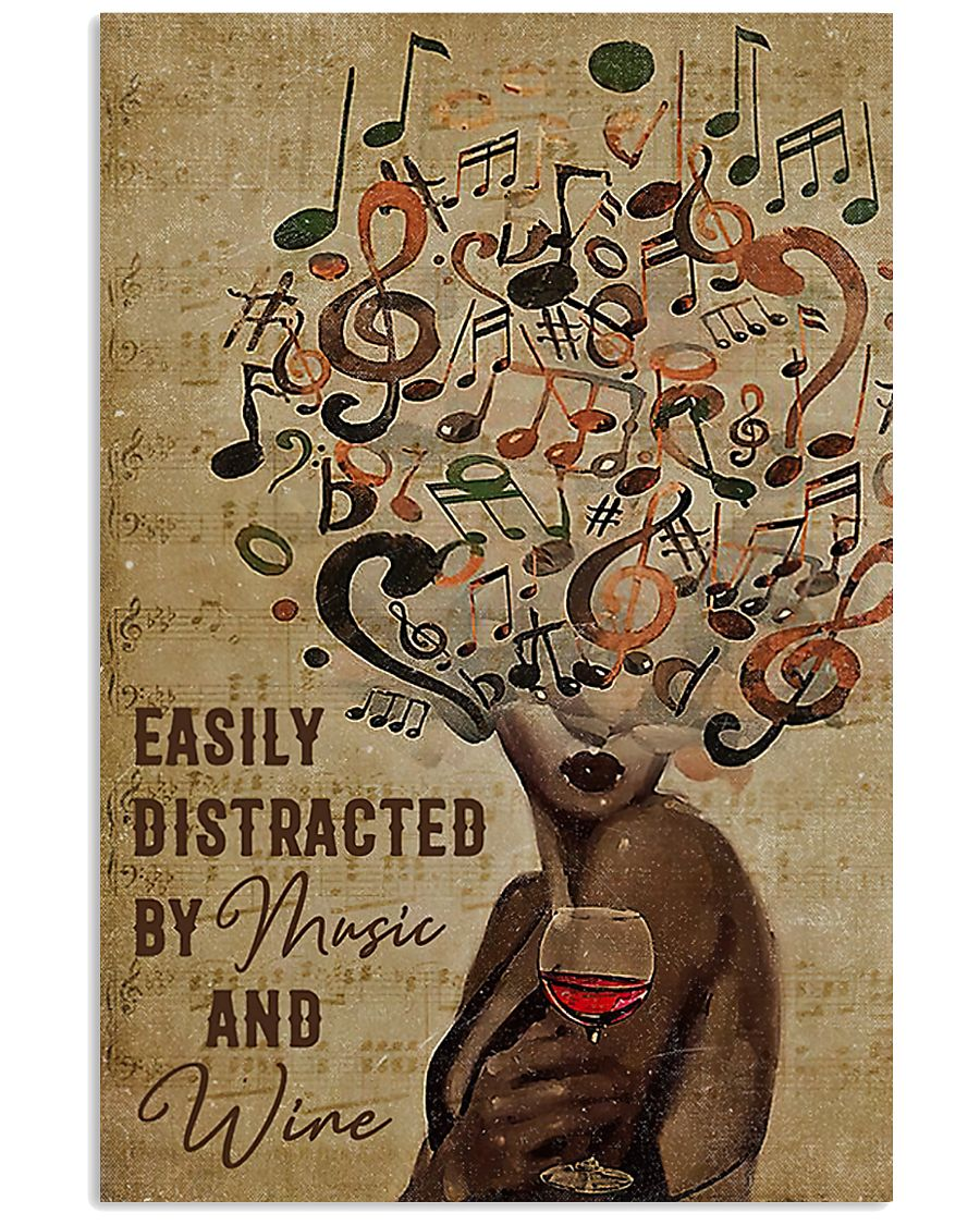 Black Woman Easily Distracted By Music And Wine Poster