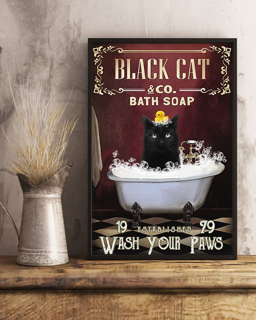 Cat Bath Soap Wash Your Paws Poster