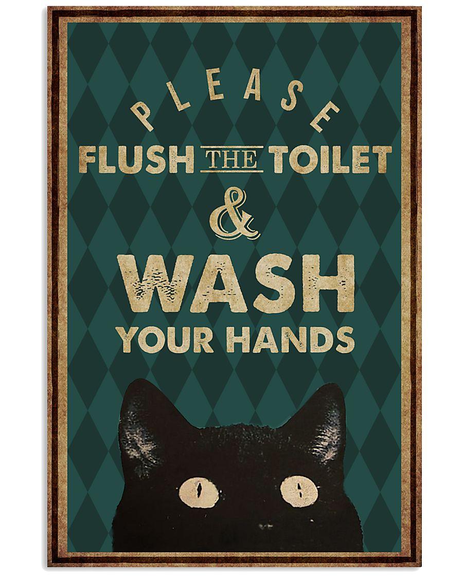 Cat Halloween Please Flush the Toilet Poster