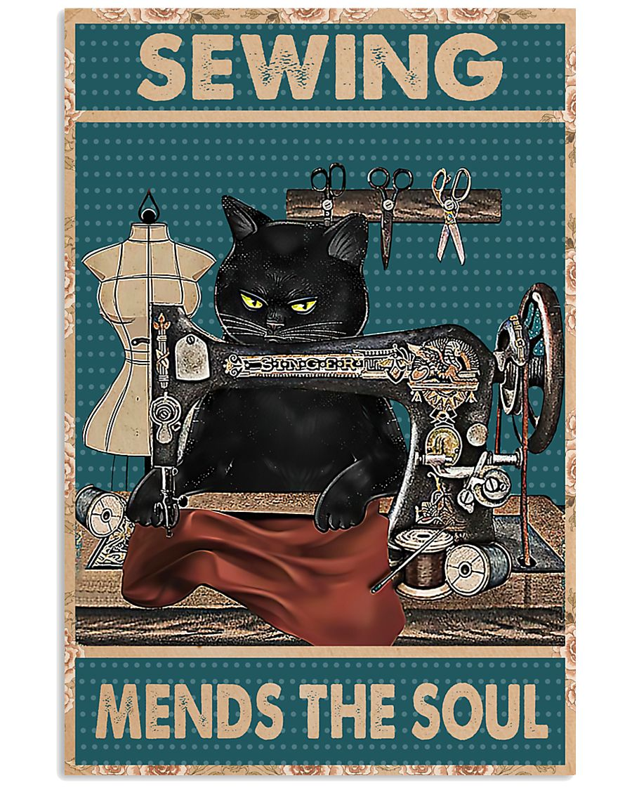 Cat Sewing mends the soul Poster