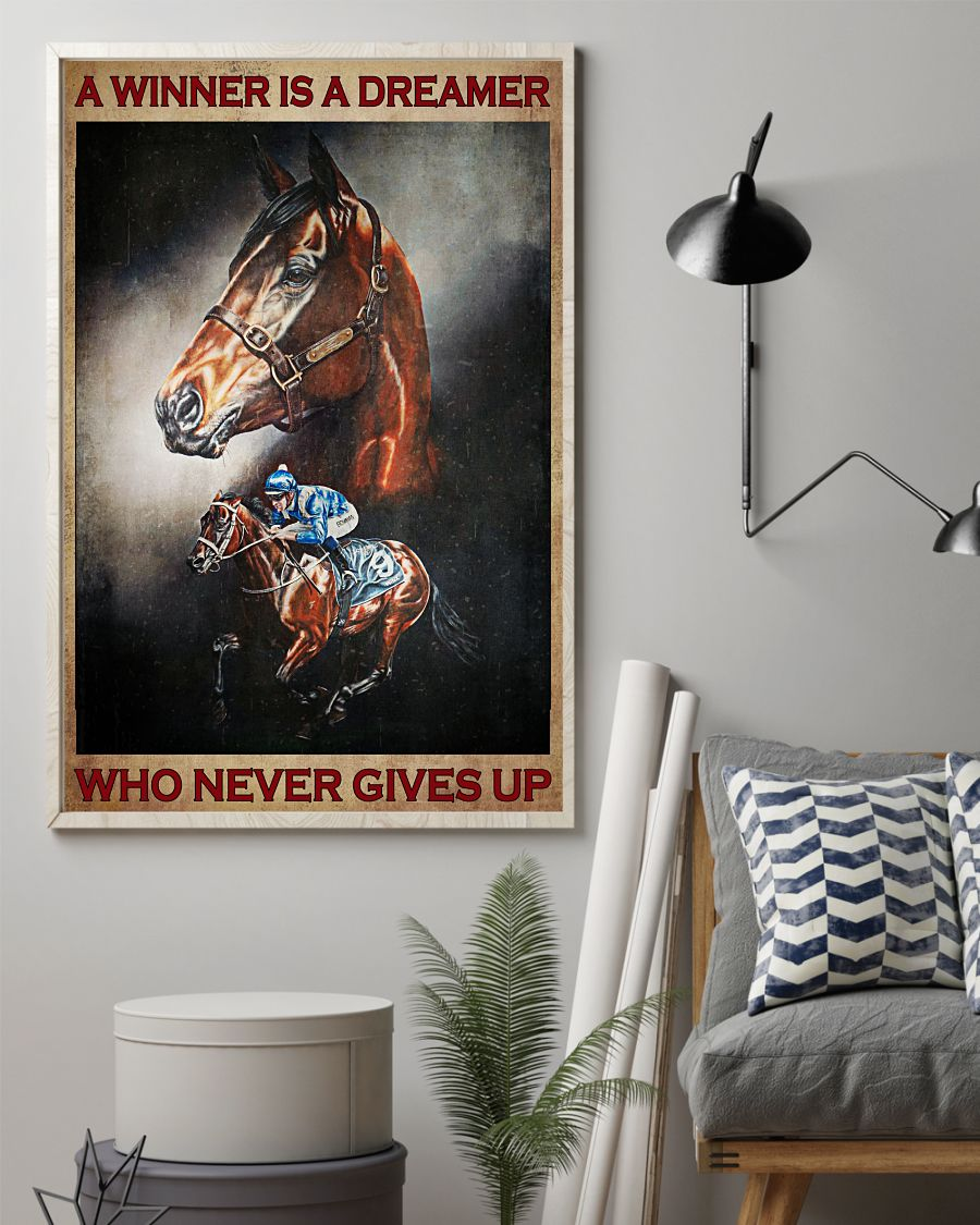 Horse riding A winner is a dreamer who never gives up posterz