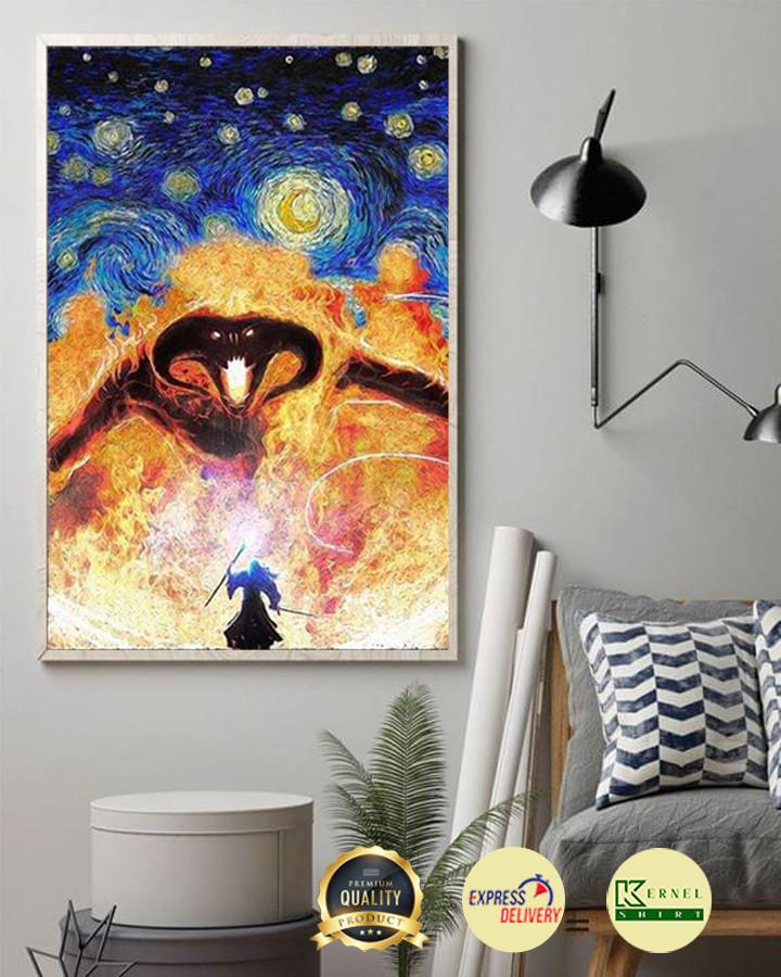 Lord Of The Rings Gandalf Vs Balrog Starry Night Van Gogh Poster