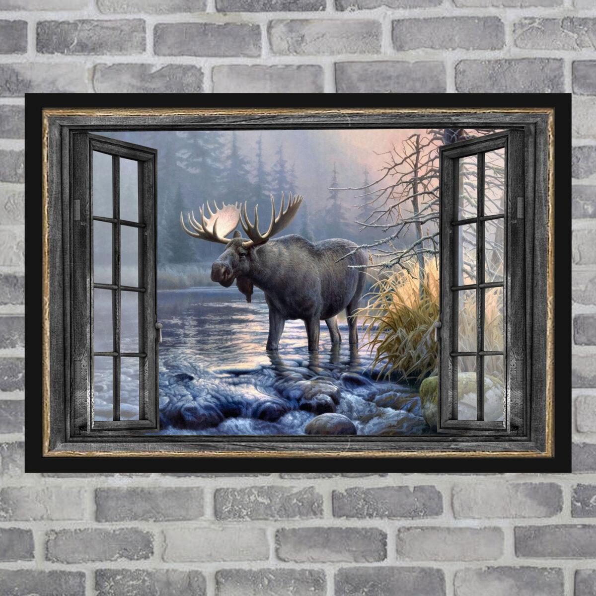 Moose Window Art Poster