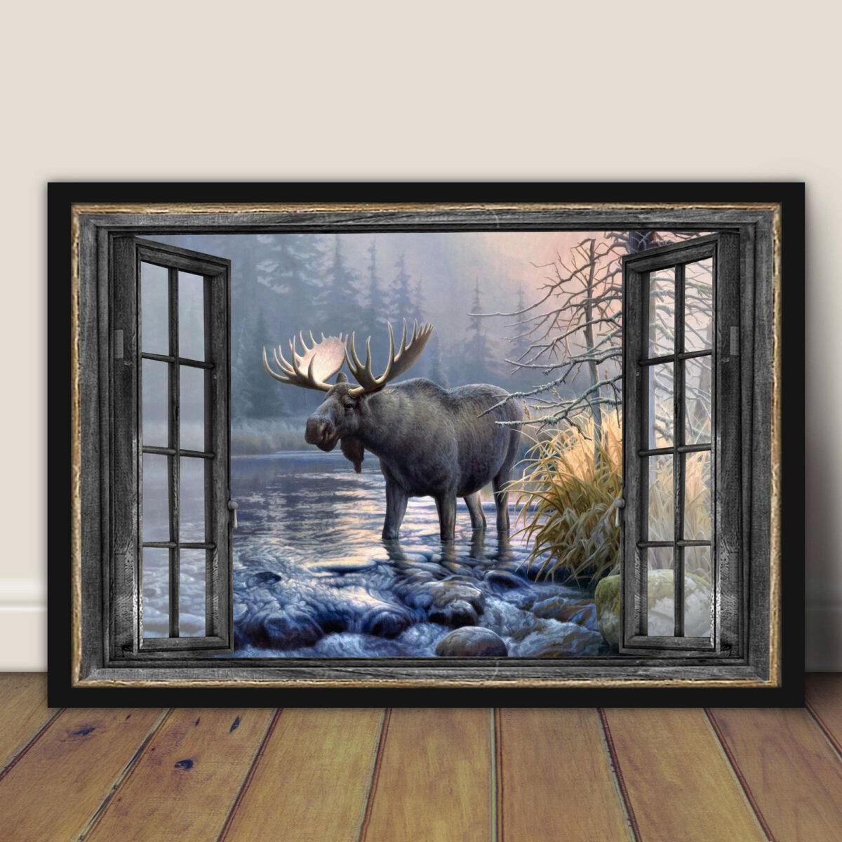 Moose Window Art Posterv