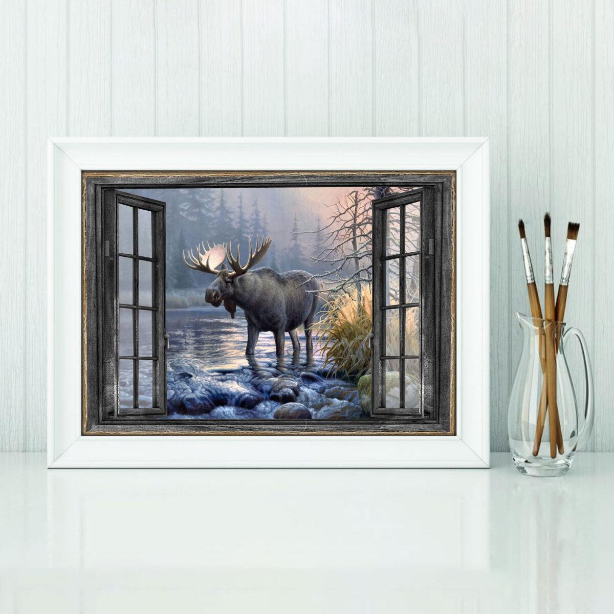 Moose Window Art Posterx