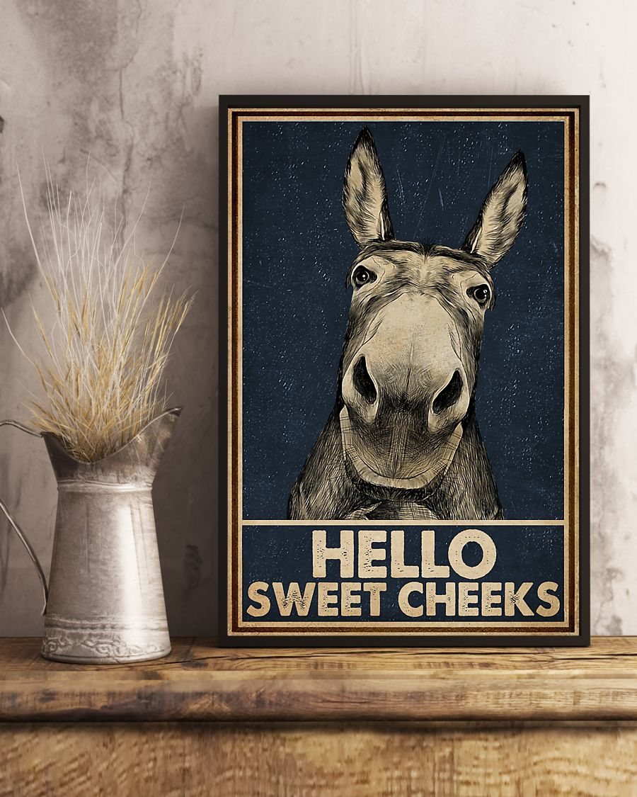 Navy Hello Sweet Cheeks Donkey Poster