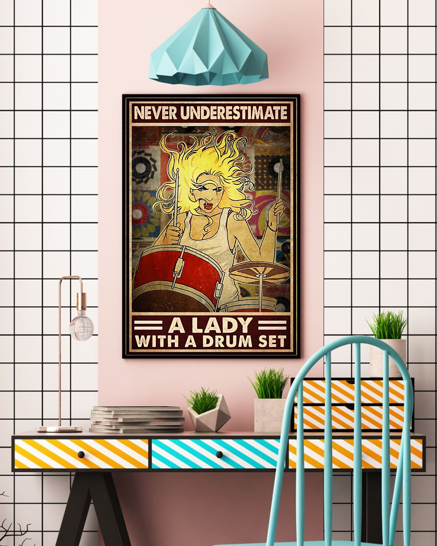 Never underestimate a lady with a drum set posterc