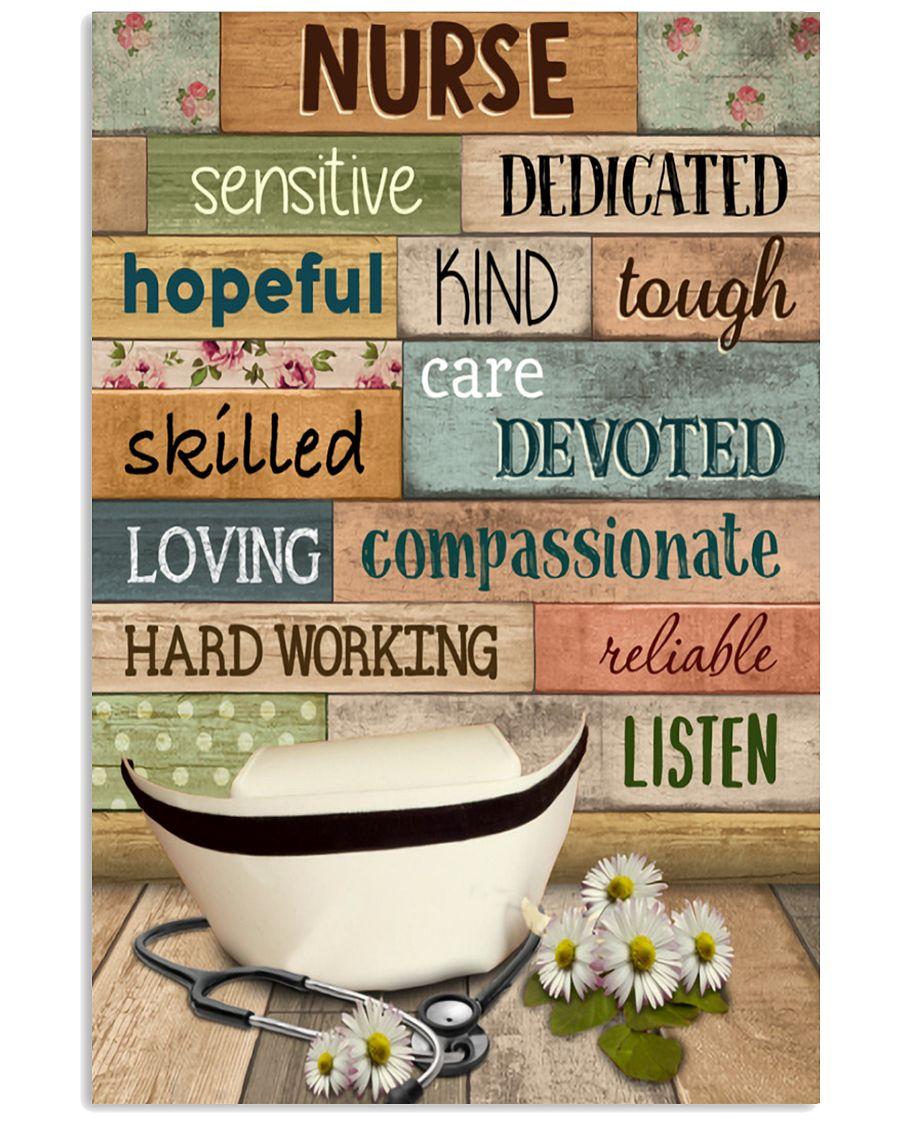 Nurse sensitive dedicated hopeful kind tough skilled care devoted poster