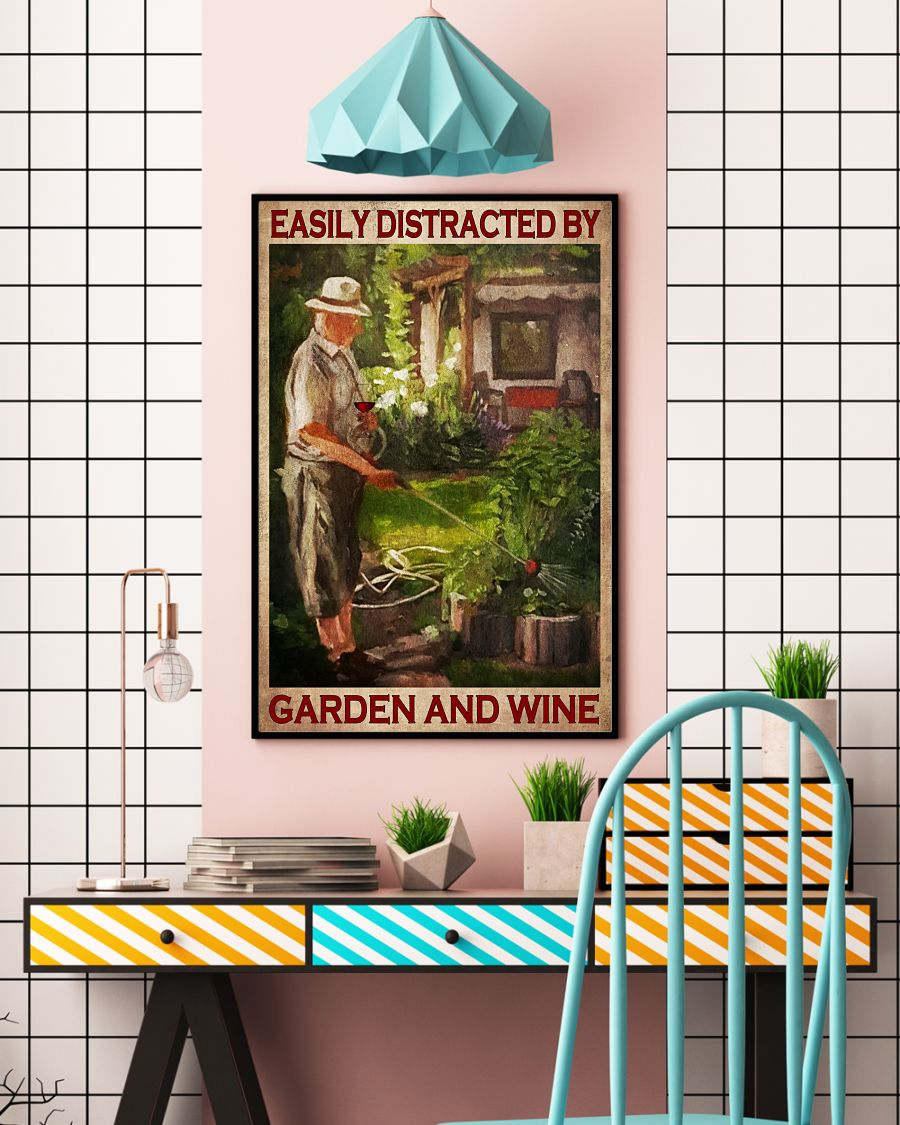 Old Man Easily distracted by garden and wine posterc