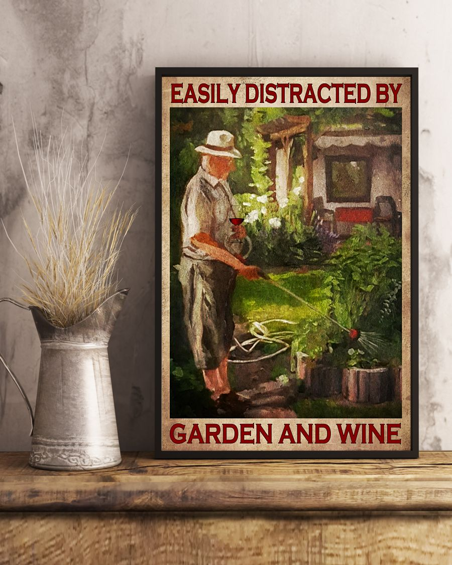 Old Man Easily distracted by garden and wine posterx