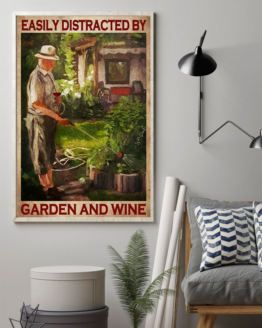 Old Man Easily distracted by garden and wine posterz