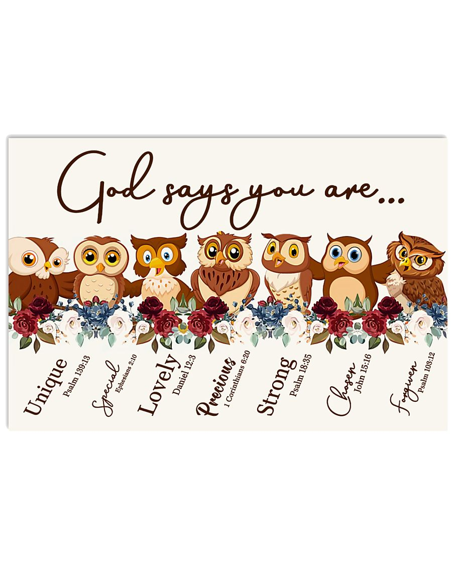 Owl - God Says You Are Unique Special Lovely Precious Poster