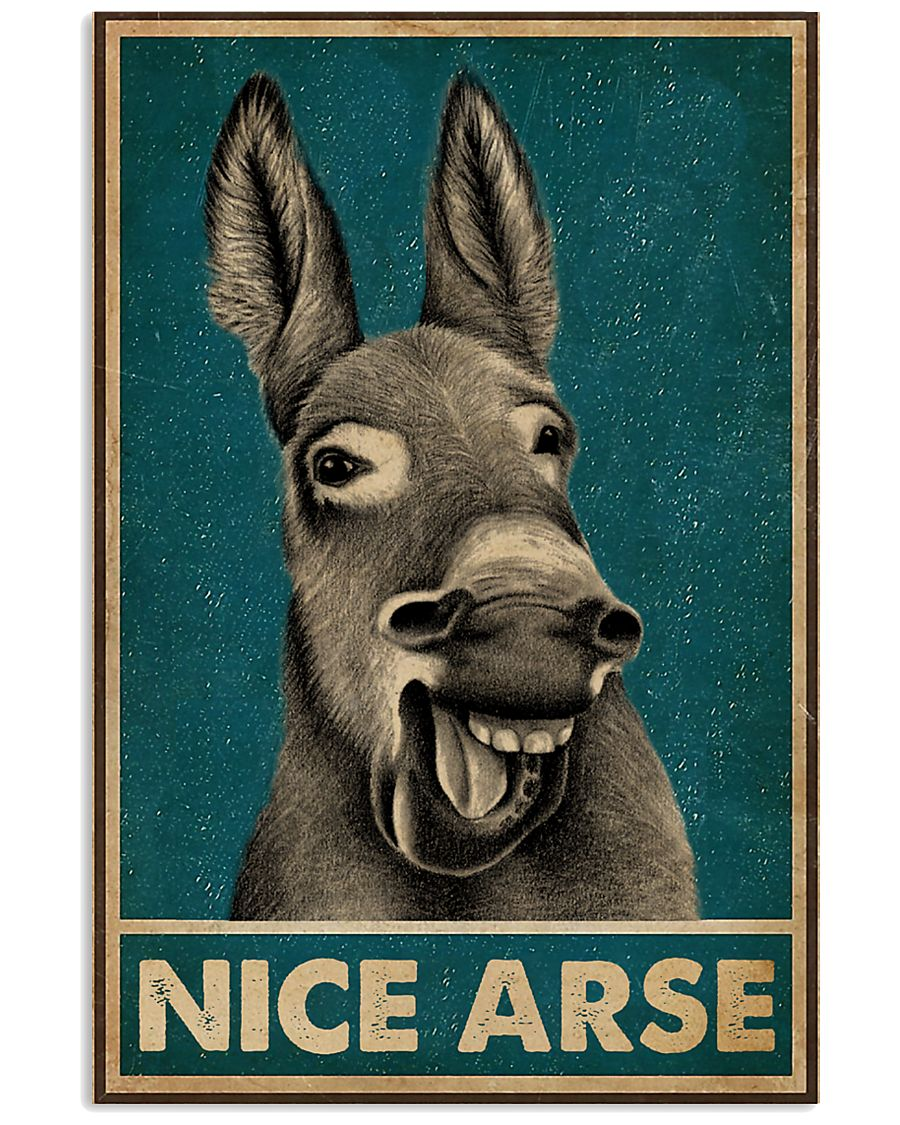Retro Green Nice Arse Laughing Donkey Poster