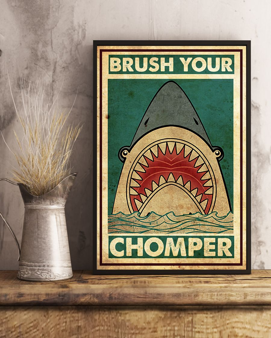 Shark Brush Your Chomper Posterc