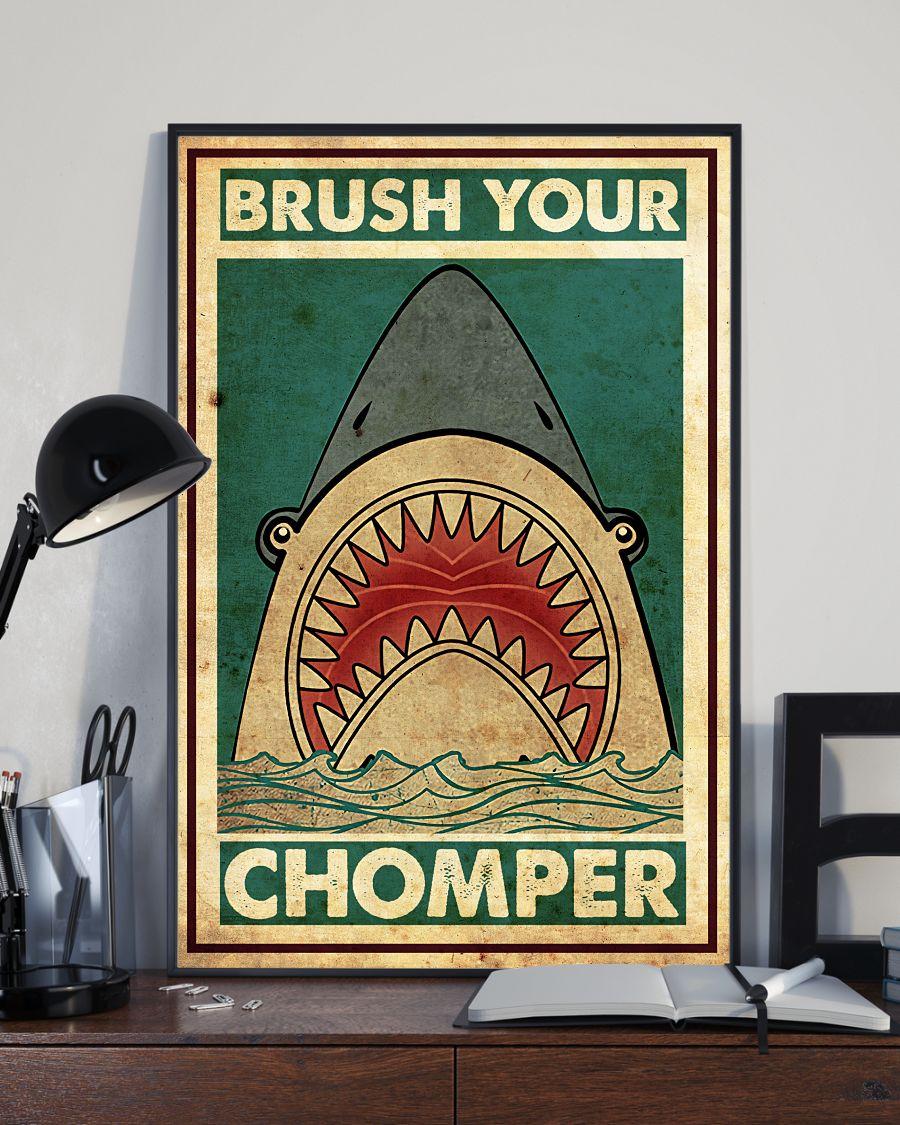 Shark Brush Your Chomper Posterx