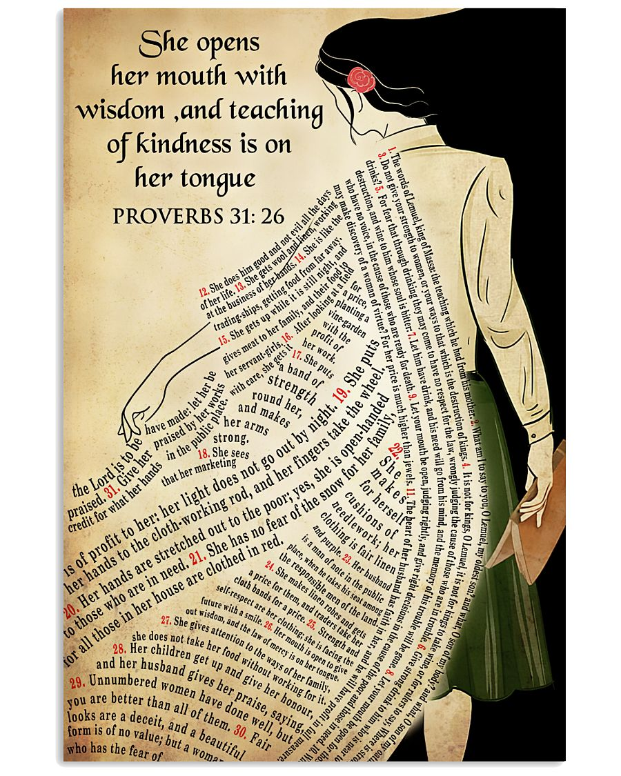 She opens her mouth with wisdom and teaching of kindness is on her tongue poster