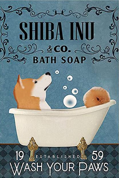 Shiba Inu in Bathtub Bath Soap Established Wash Your Paws Poster