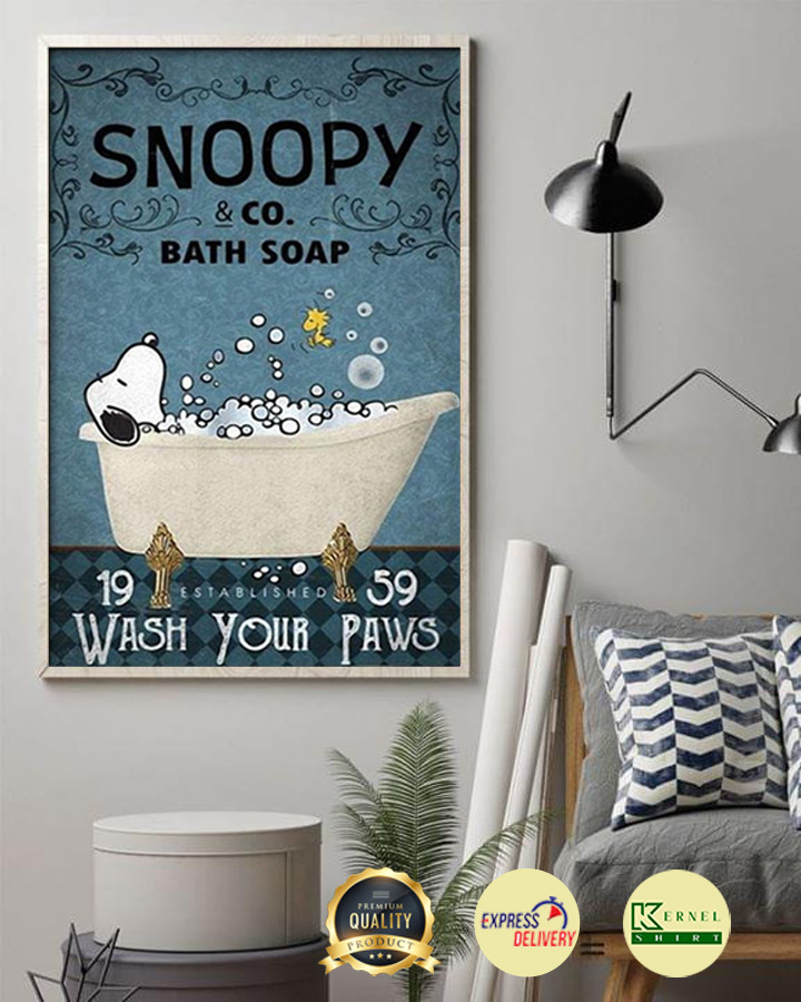 Snoopy & Co. Bath Soap Wash Your Paws Poster
