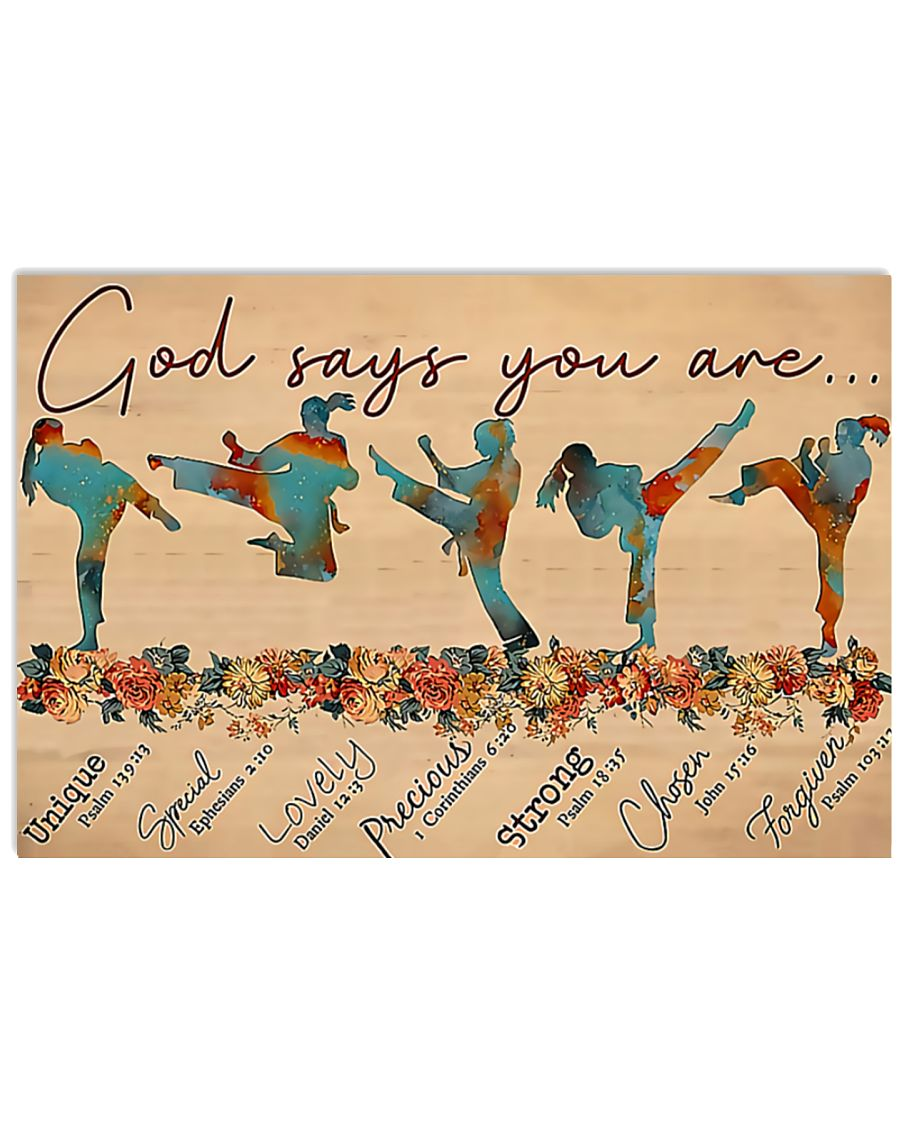 Taekwondo - God Says You Are Unique Special Lovely Precious Strong Poster