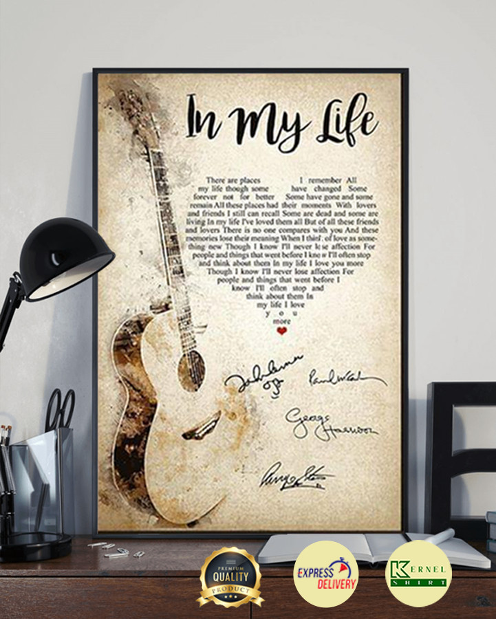The Beatles In My Life Lyric Heart Typography Guitar Signature Poster