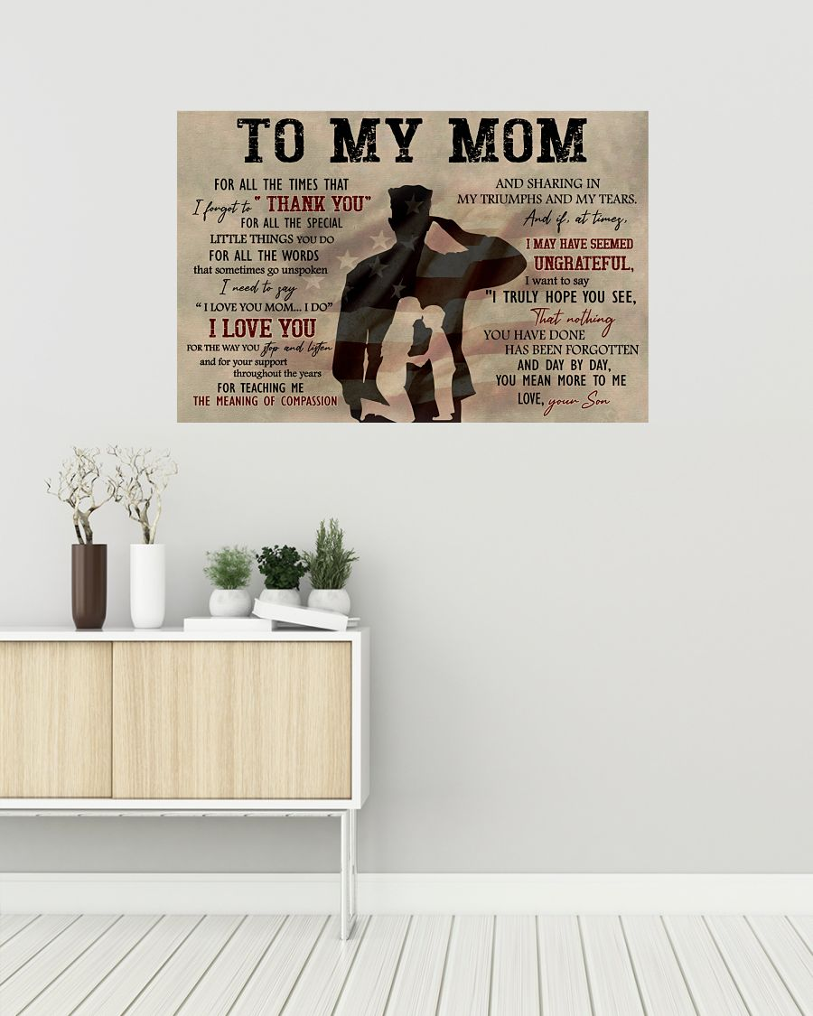 To My Mom For All The Times That I Forget To Thank You Army Posterz