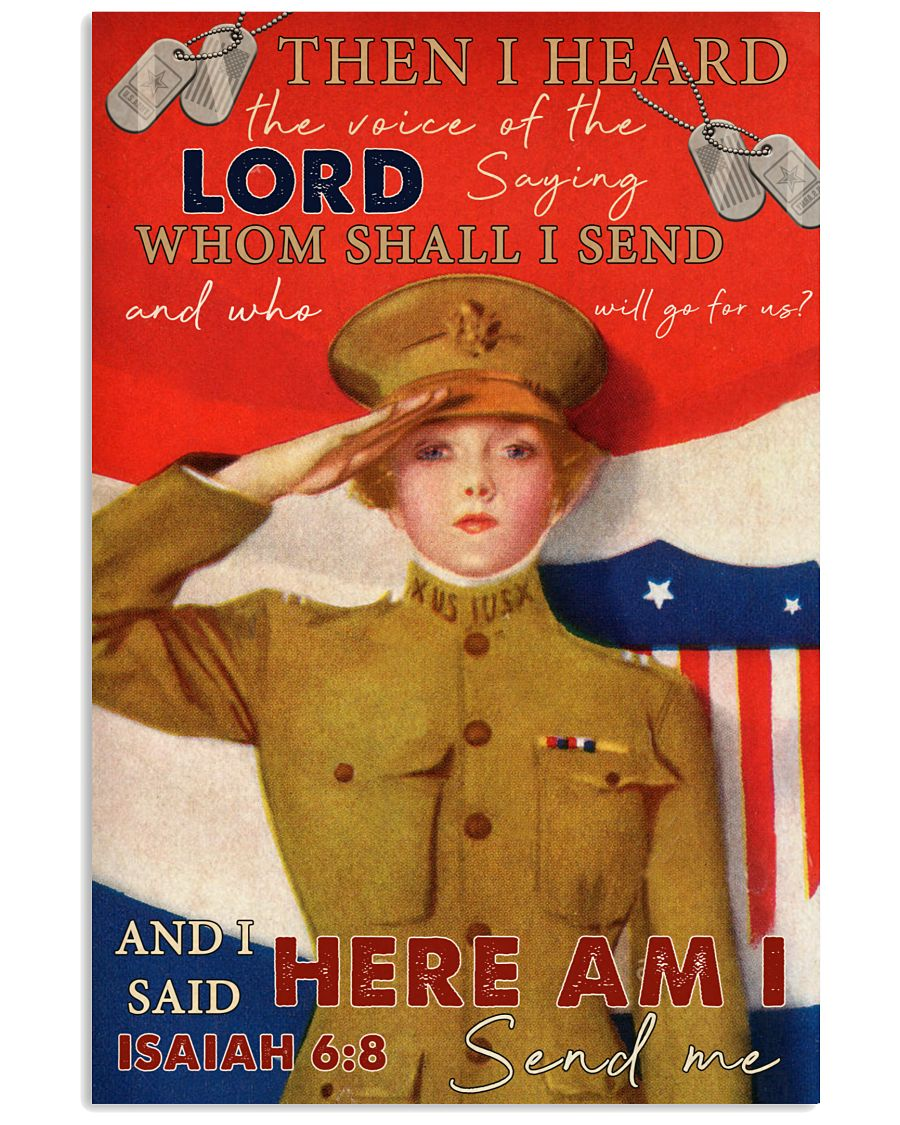 US Female Soldier Then I Heard The Voice Of The Lord Saying Whom Shall I Send Poster