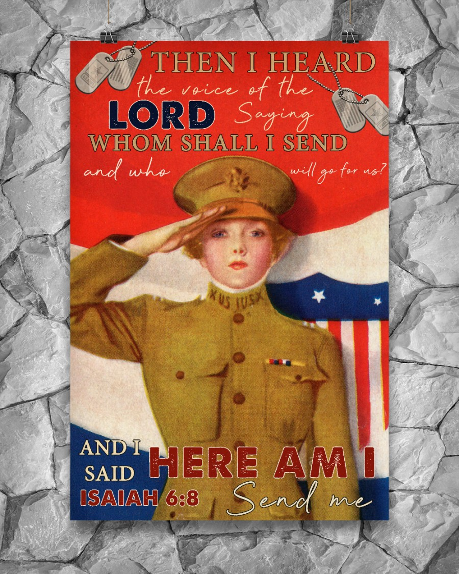 US Female Soldier Then I Heard The Voice Of The Lord Saying Whom Shall I Send Posterx