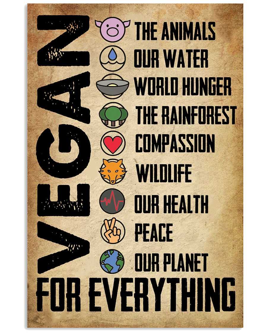 Vegan The animals our water world hunger vintage poster