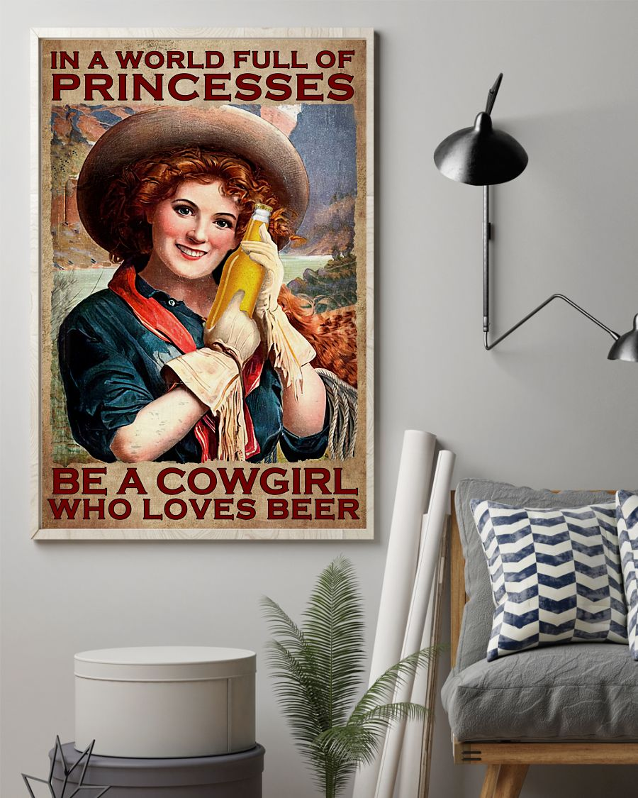 Esty In A World  Full Of Princesses Be A Cowgirl Poster
