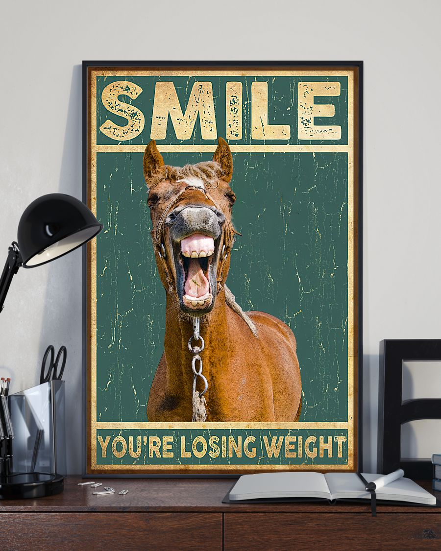 Free Ship Smile You're Losing Weight Funny Horse Poster