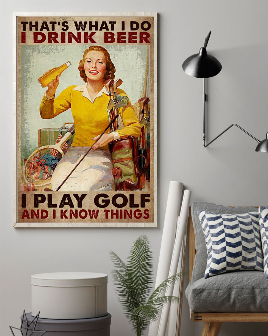 eBay That's What I Do I Drink Beer Play Golf Lady Poster