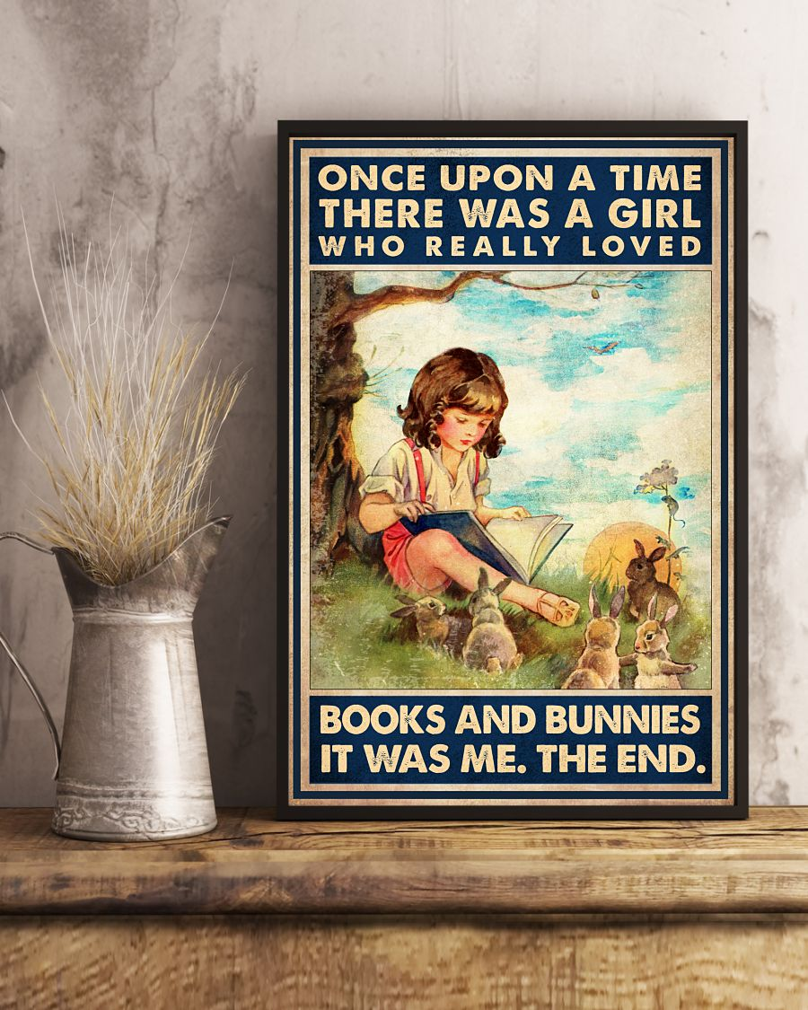 New There Was A Girl Who Really Loves Books And Bunnies Poster