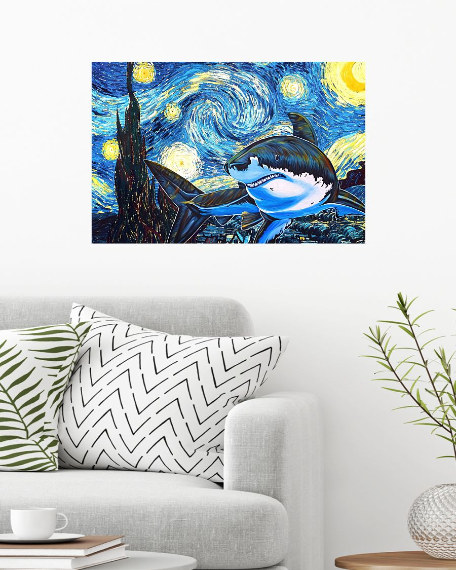 Only For Fan Shark Starry Night Poster