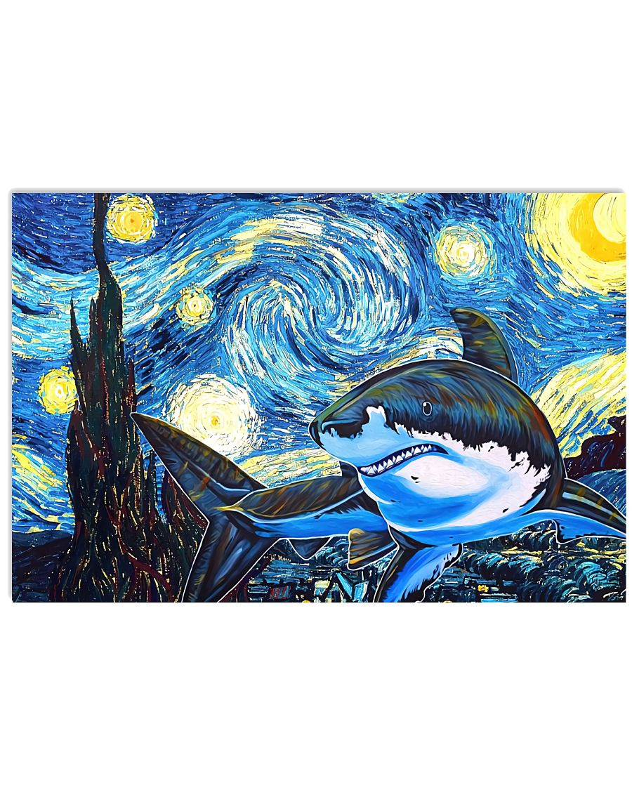 Top Rated Shark Starry Night Poster