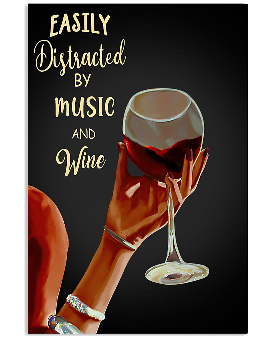 Easily Distracted By Music And Wine Lady Hand Poster
