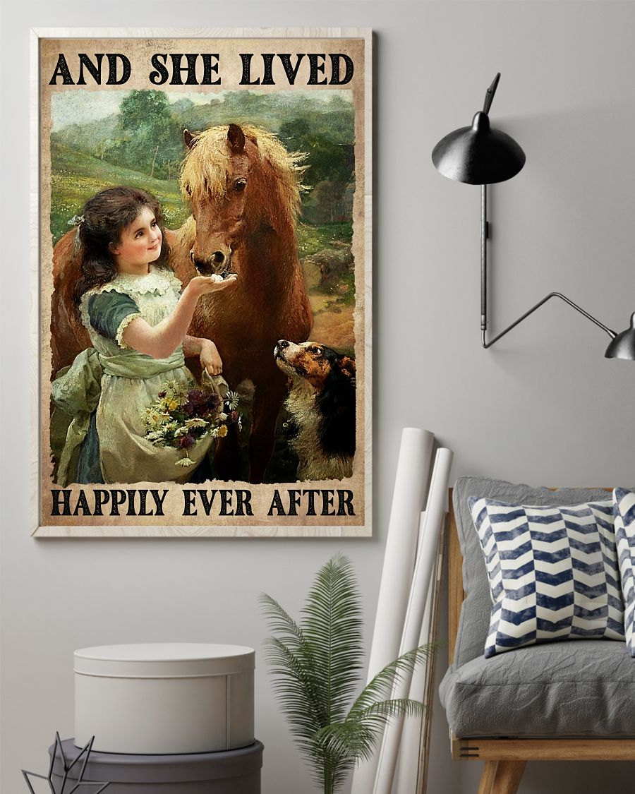 Where To Buy And She Lived Happily Ever After Girl Horse Dog Poster