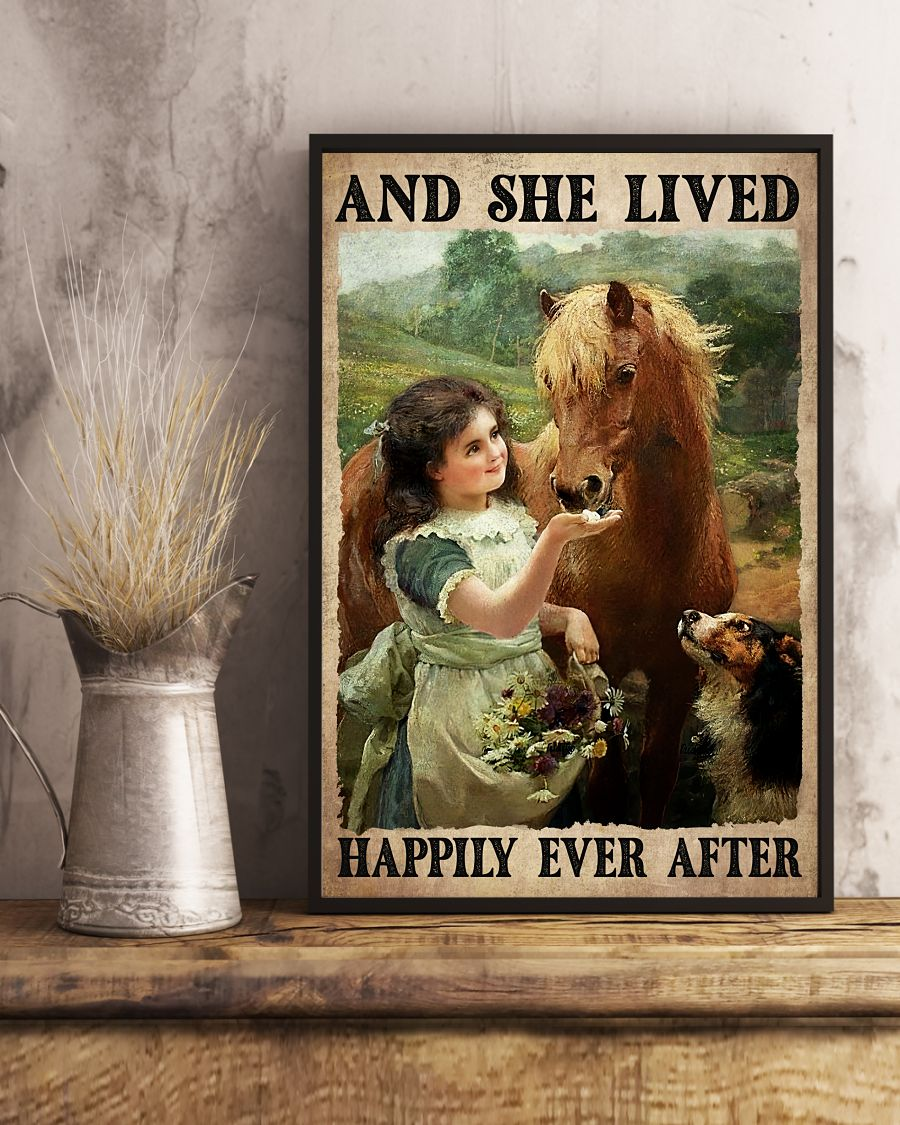 Best Gift And She Lived Happily Ever After Girl Horse Dog Poster