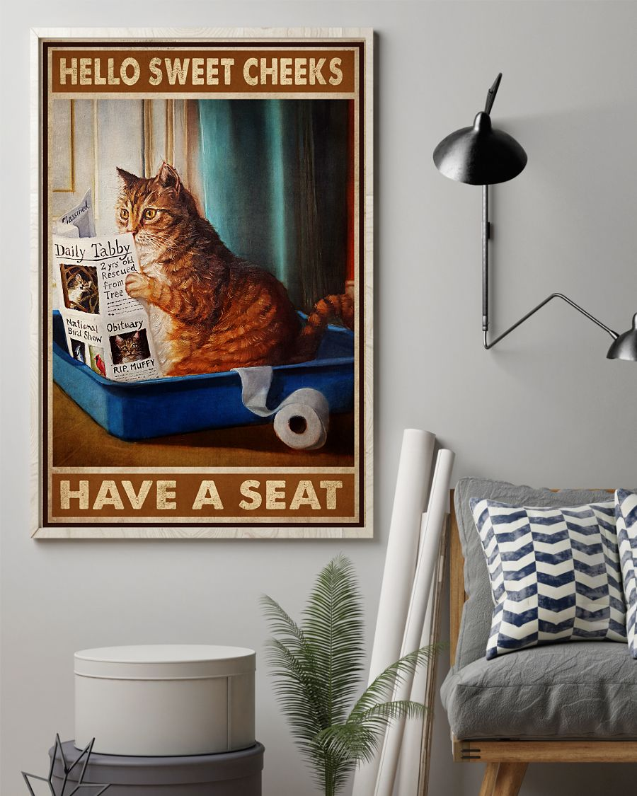 Print On Demand Hello Sweet Cheeks Have A Seat Cat Reading Newspaper Poster