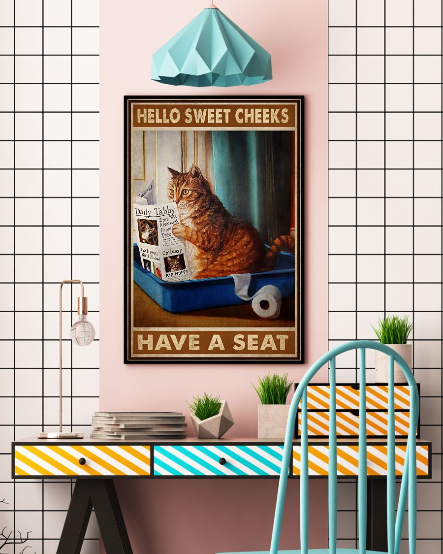 eBay Hello Sweet Cheeks Have A Seat Cat Reading Newspaper Poster