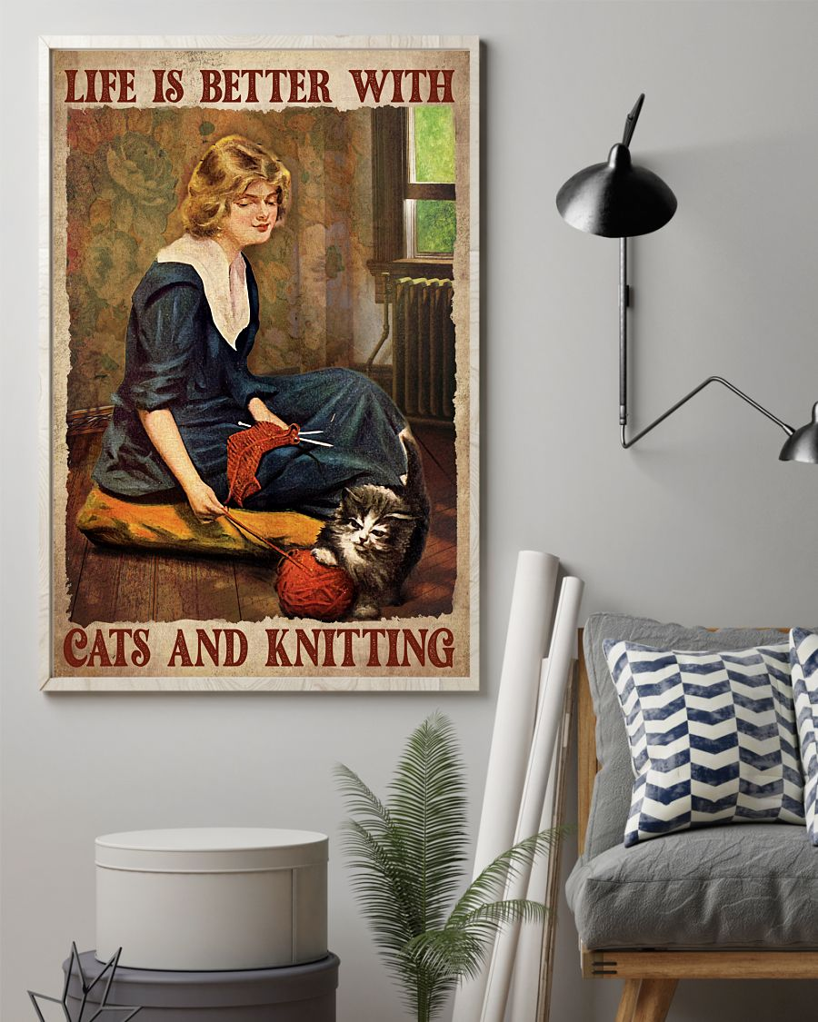 Unique Life Is Better With Cat And Knitting Poster