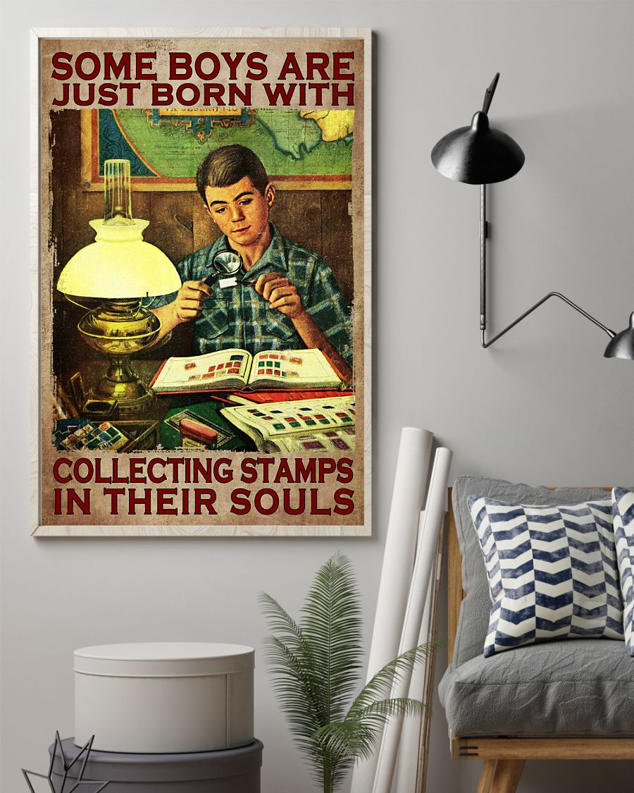 Sale Off Some Boys Are Just Born With Collecting Stamp In Their Souls Poster